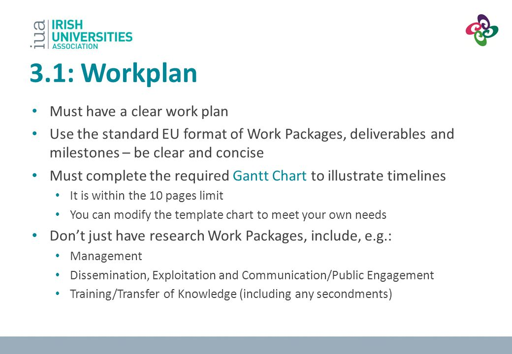 3.1: Workplan Must have a clear work plan