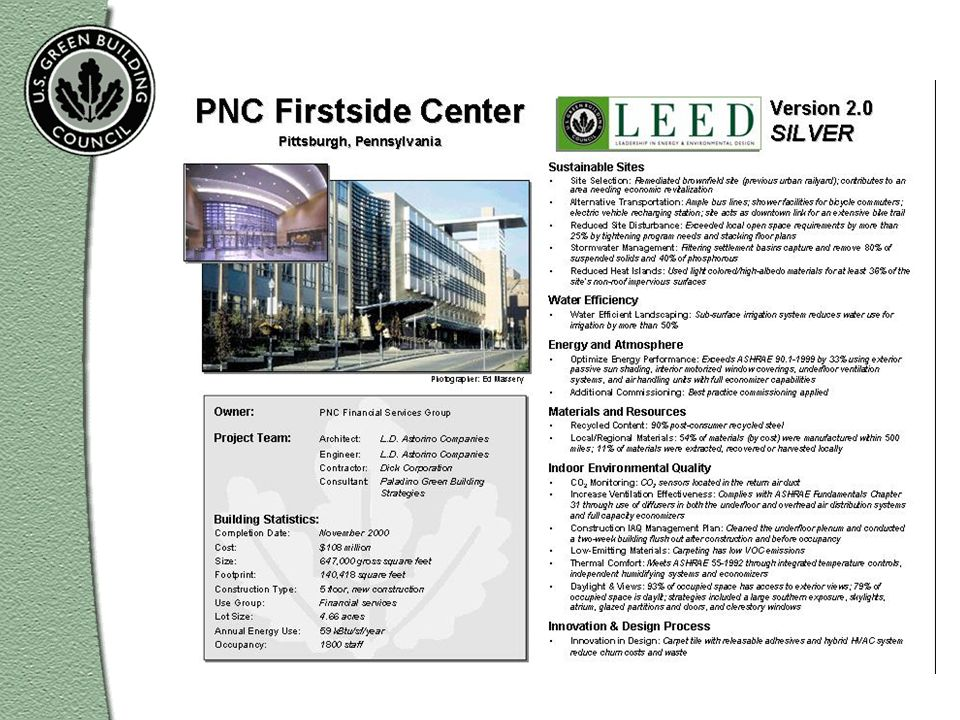 The Firstside Center belongs to PNC, a financial services company, and was the first building certified under LEED Version 2.0. The company has since registered other buildings with the LEED program, thus showing its confidence in the benefits of green buildings.