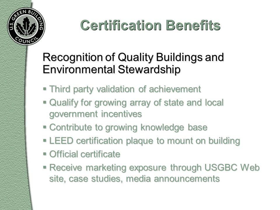 Certification Benefits