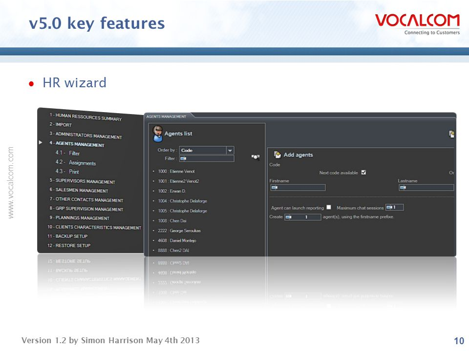 v5.0 key features HR wizard ----- Presentation Notes -----