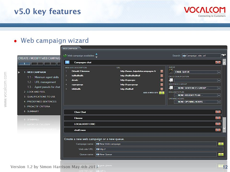 v5.0 key features Web campaign wizard ----- Presentation Notes -----