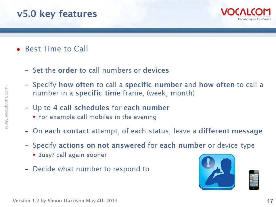 v5.0 key features Best Time to Call
