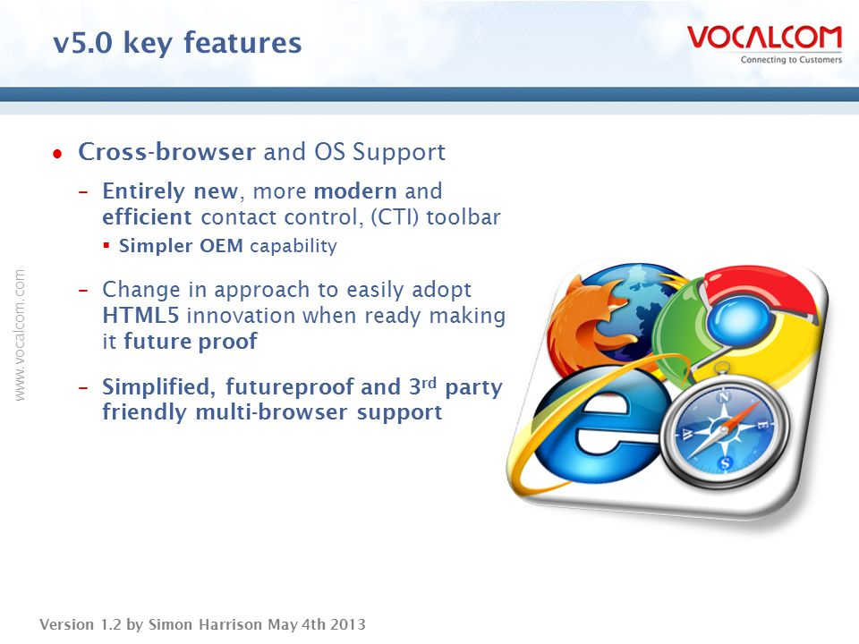 v5.0 key features Cross-browser and OS Support