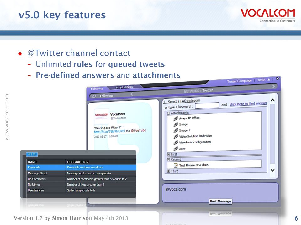 v5.0 key features @Twitter channel contact