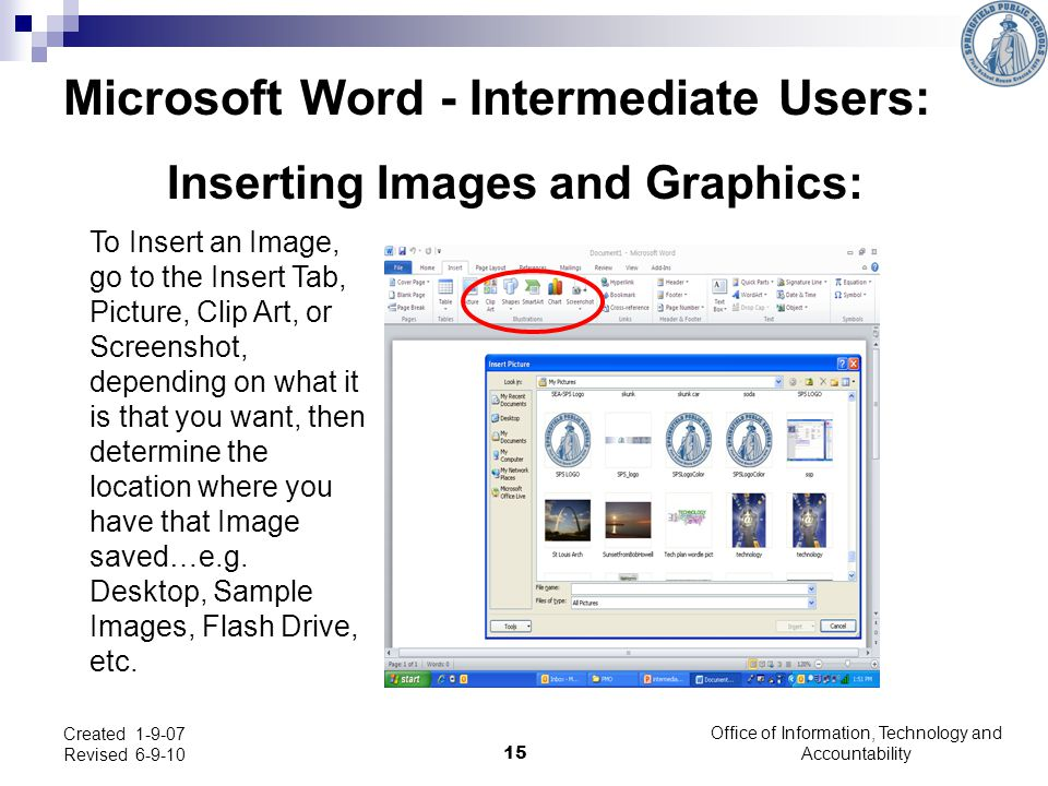 Inserting Images and Graphics: