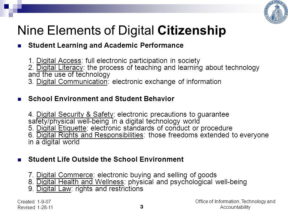 Nine Elements of Digital Citizenship