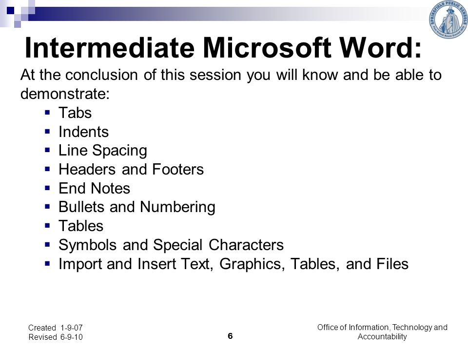 Intermediate Microsoft Word: