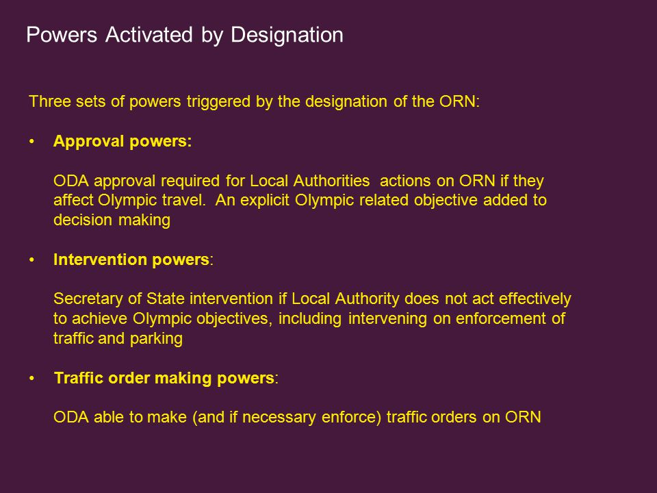 Powers Activated by Designation