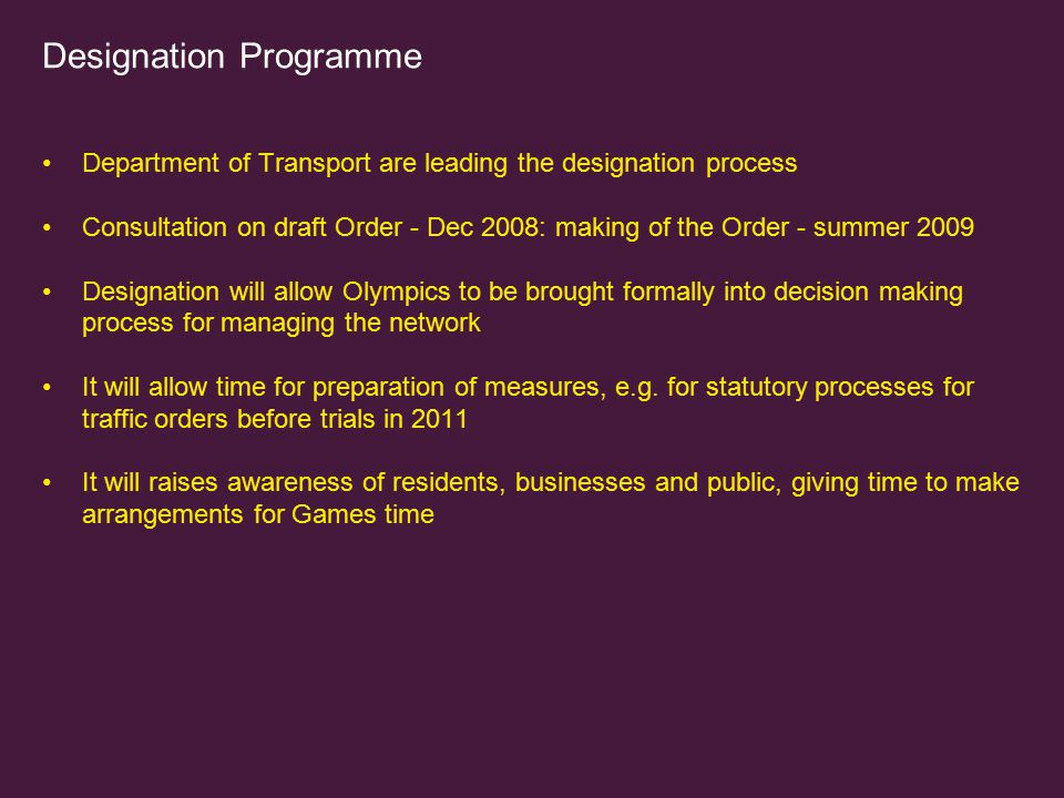 Designation Programme