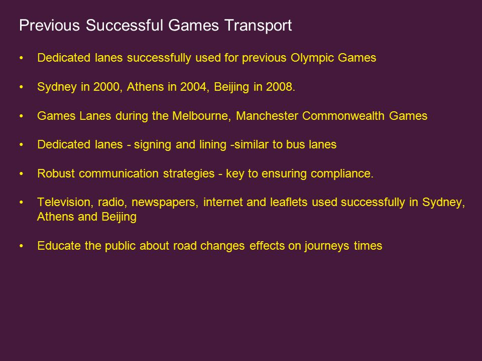 Previous Successful Games Transport