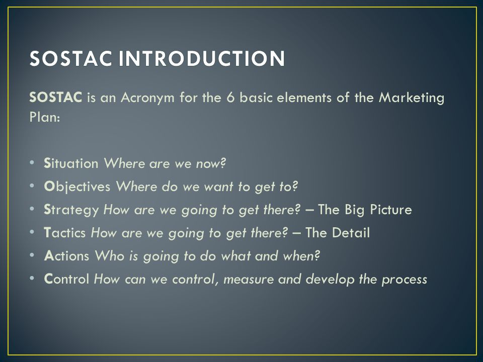 SOSTAC INTRODUCTION SOSTAC is an Acronym for the 6 basic elements of the Marketing Plan: Situation Where are we now