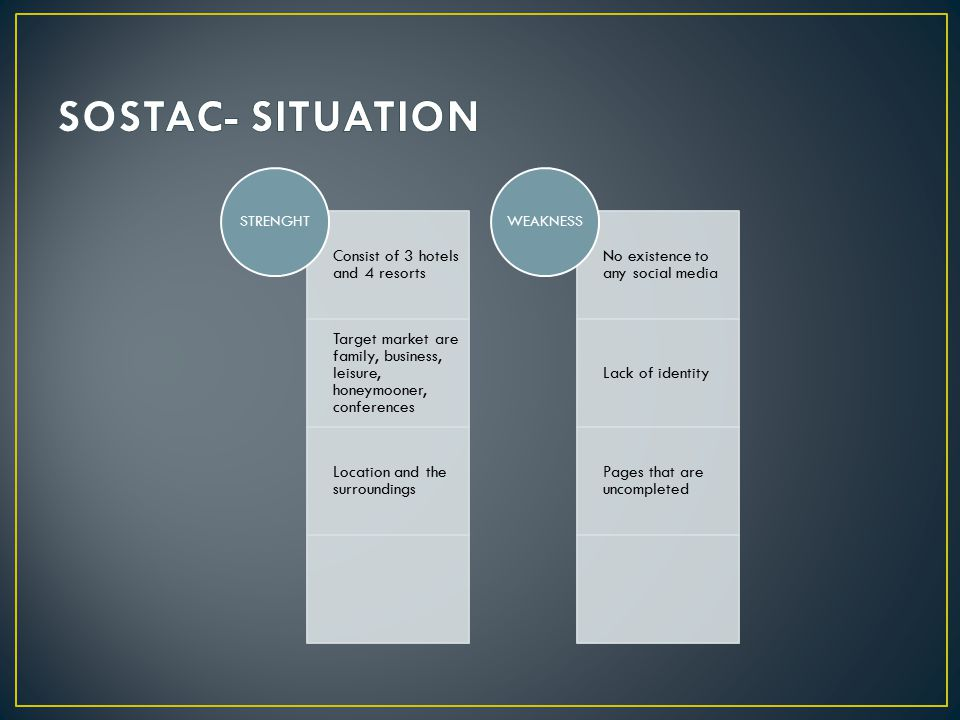 SOSTAC- SITUATION STRENGHT Consist of 3 hotels and 4 resorts