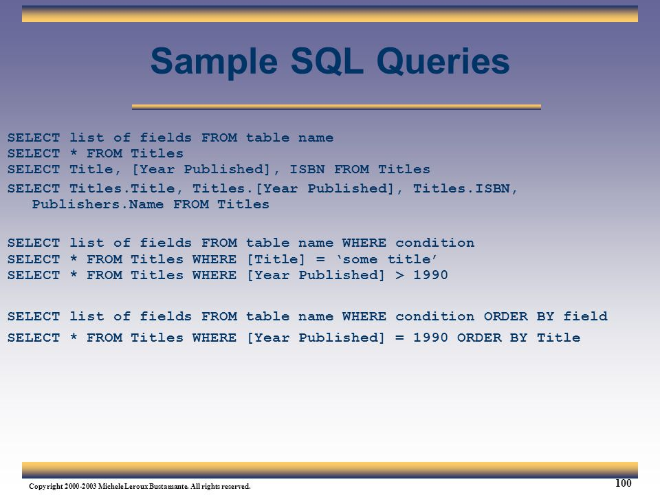 Sample SQL Queries SELECT list of fields FROM table name