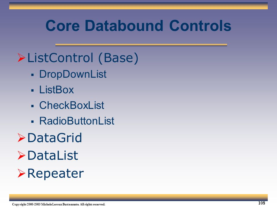 Core Databound Controls
