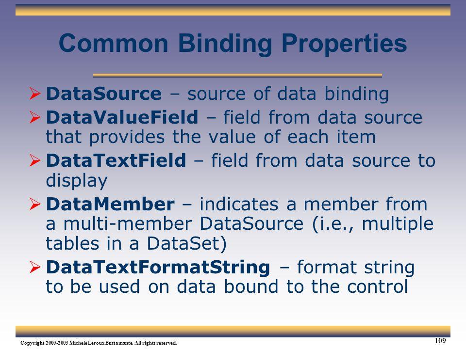 Common Binding Properties
