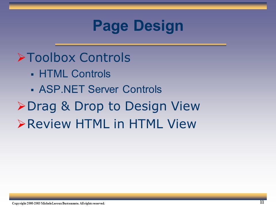 Page Design Toolbox Controls Drag & Drop to Design View