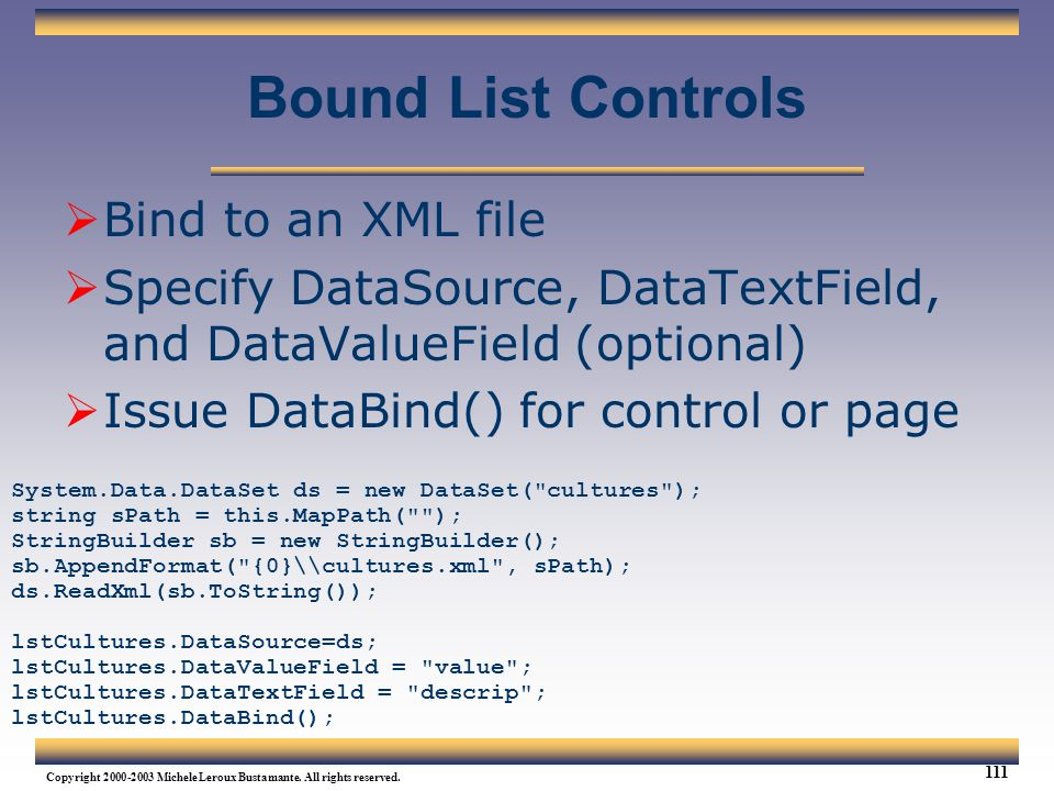 Bound List Controls Bind to an XML file