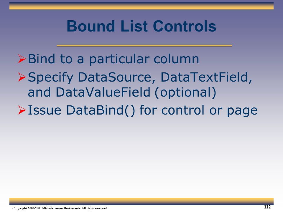 Bound List Controls Bind to a particular column