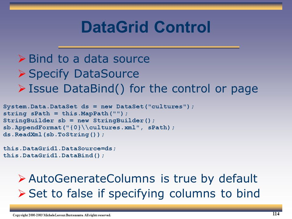 DataGrid Control Bind to a data source Specify DataSource