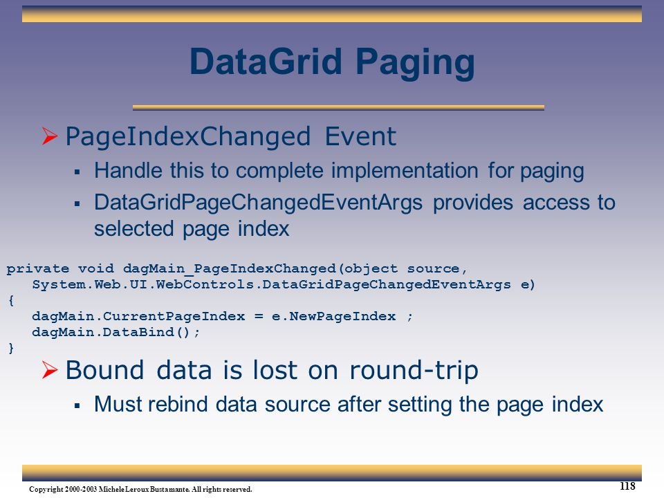 DataGrid Paging PageIndexChanged Event
