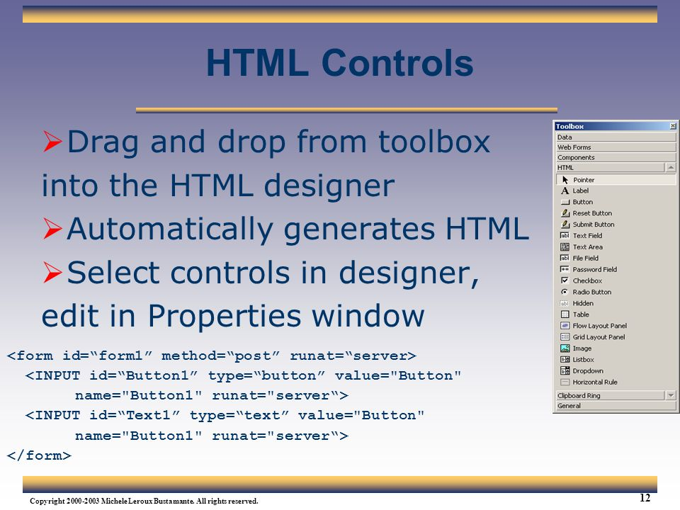 HTML Controls Drag and drop from toolbox into the HTML designer