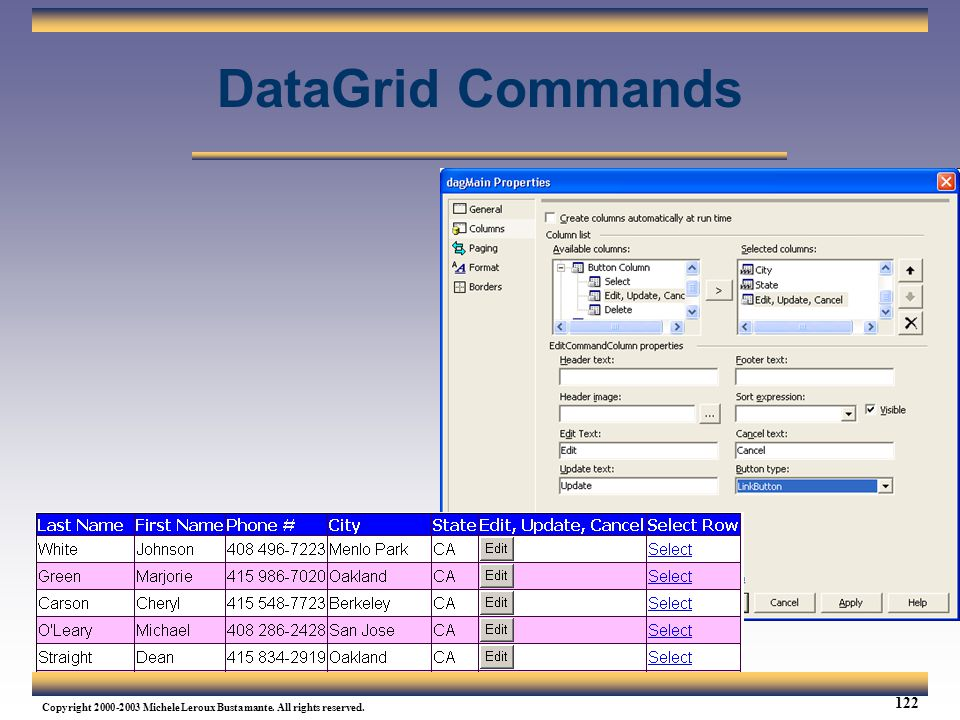 DataGrid Commands Web Services Tutorial Updated 04/07/2003