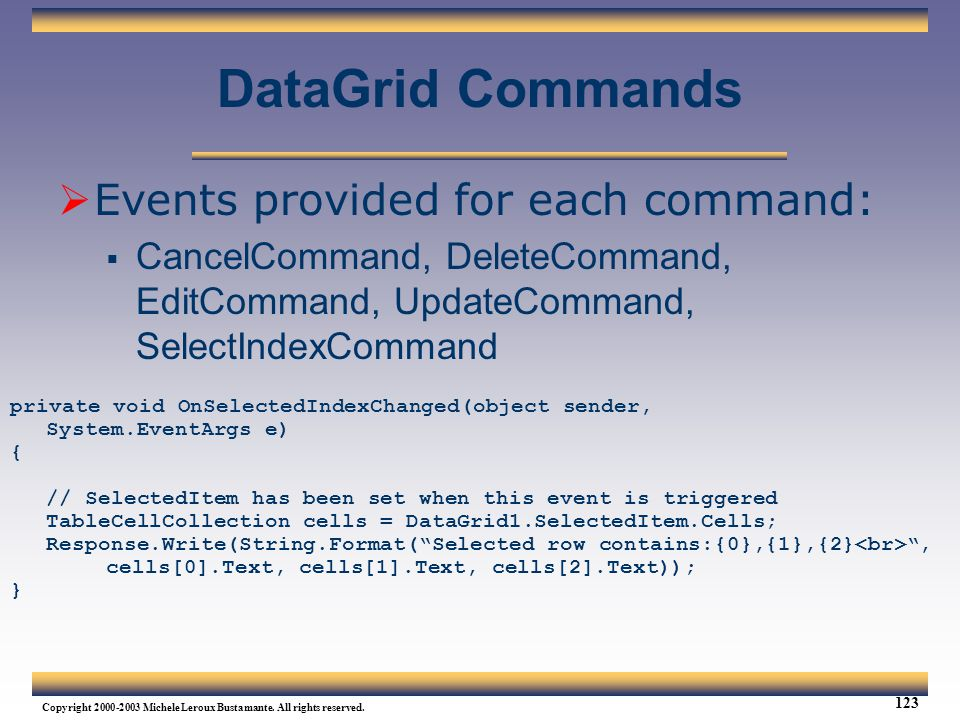 DataGrid Commands Events provided for each command: