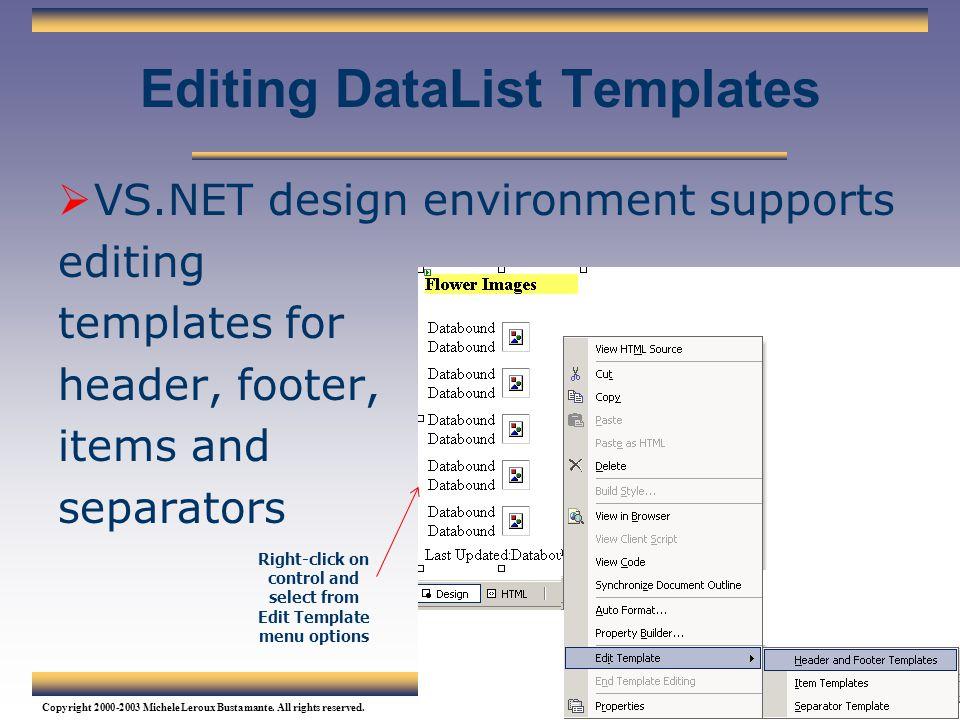 Editing DataList Templates
