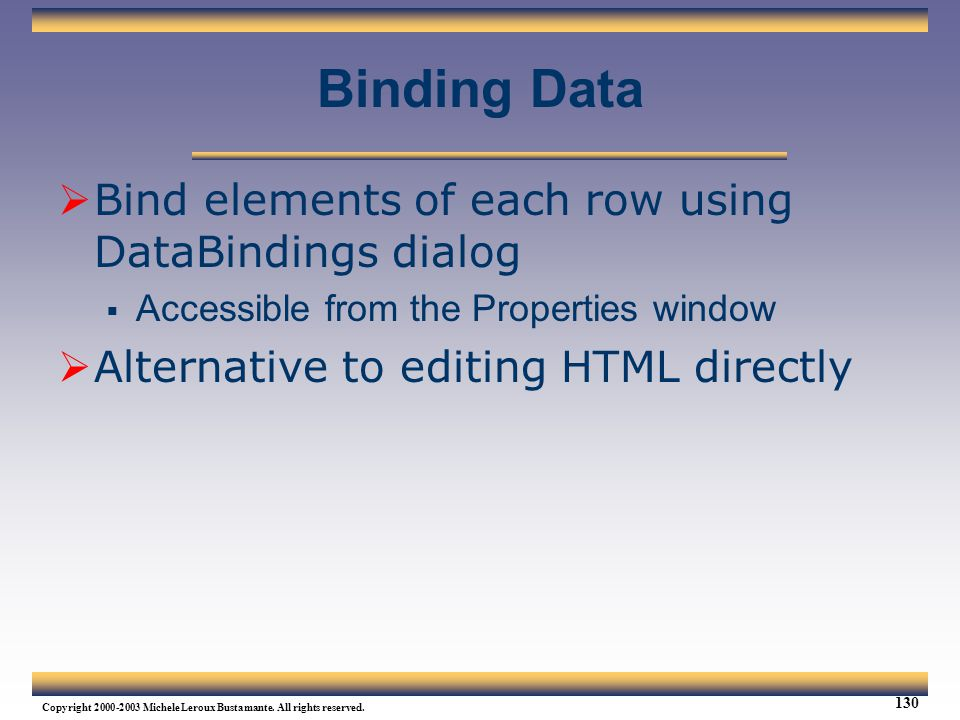 Binding Data Bind elements of each row using DataBindings dialog