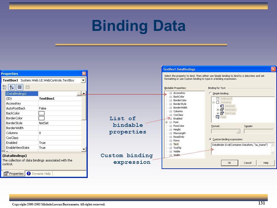 List of bindable properties Custom binding expression
