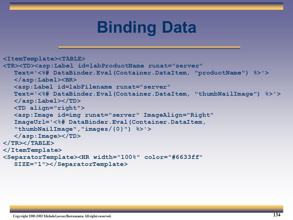 Binding Data <ItemTemplate><TABLE>