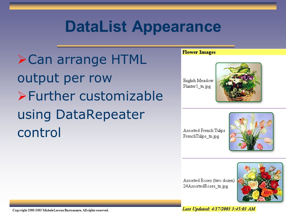 DataList Appearance Can arrange HTML output per row