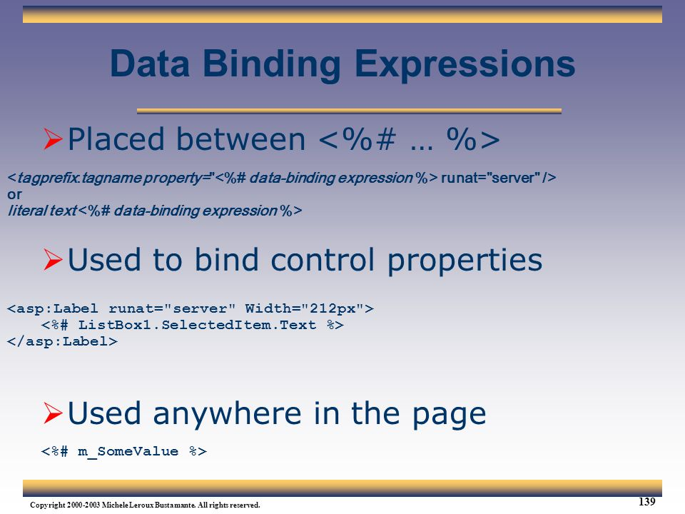 Data Binding Expressions