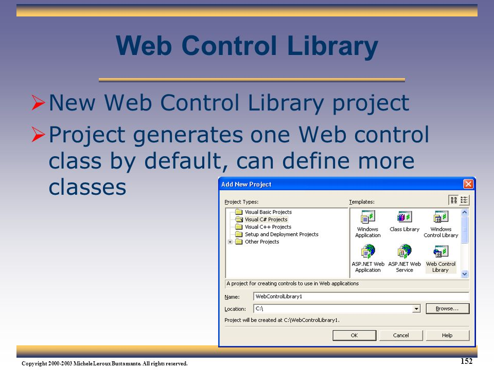 Web Control Library New Web Control Library project