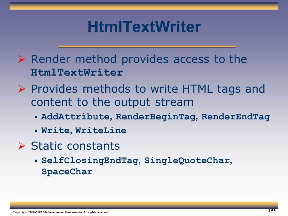 HtmlTextWriter Render method provides access to the HtmlTextWriter