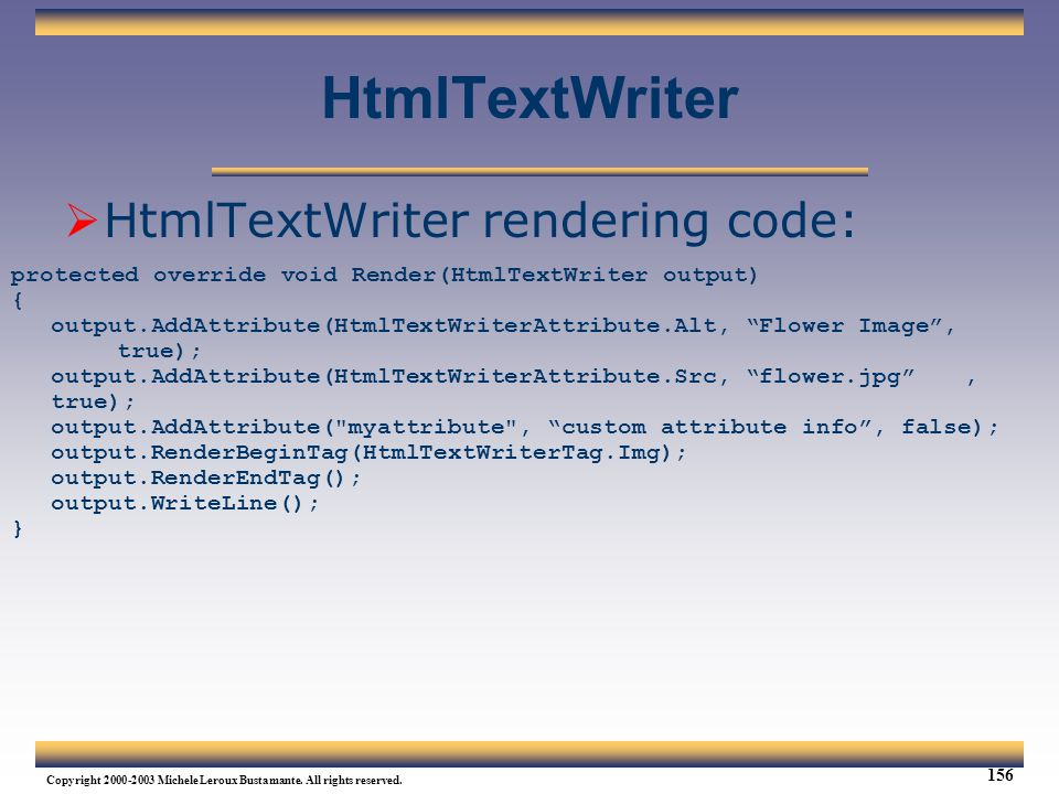 HtmlTextWriter HtmlTextWriter rendering code: