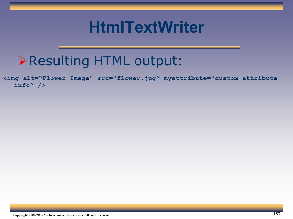 HtmlTextWriter Resulting HTML output: