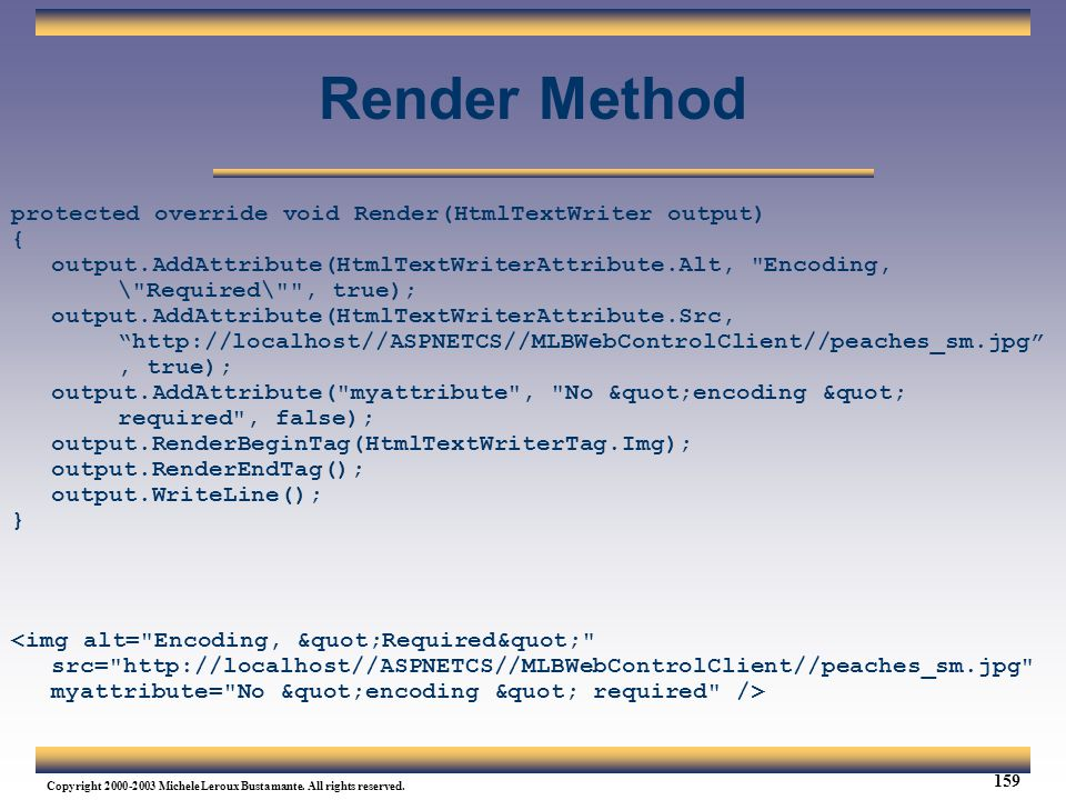 Render Method protected override void Render(HtmlTextWriter output) {