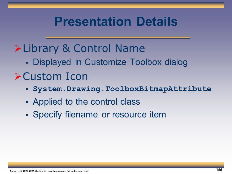 Presentation Details Library & Control Name Custom Icon