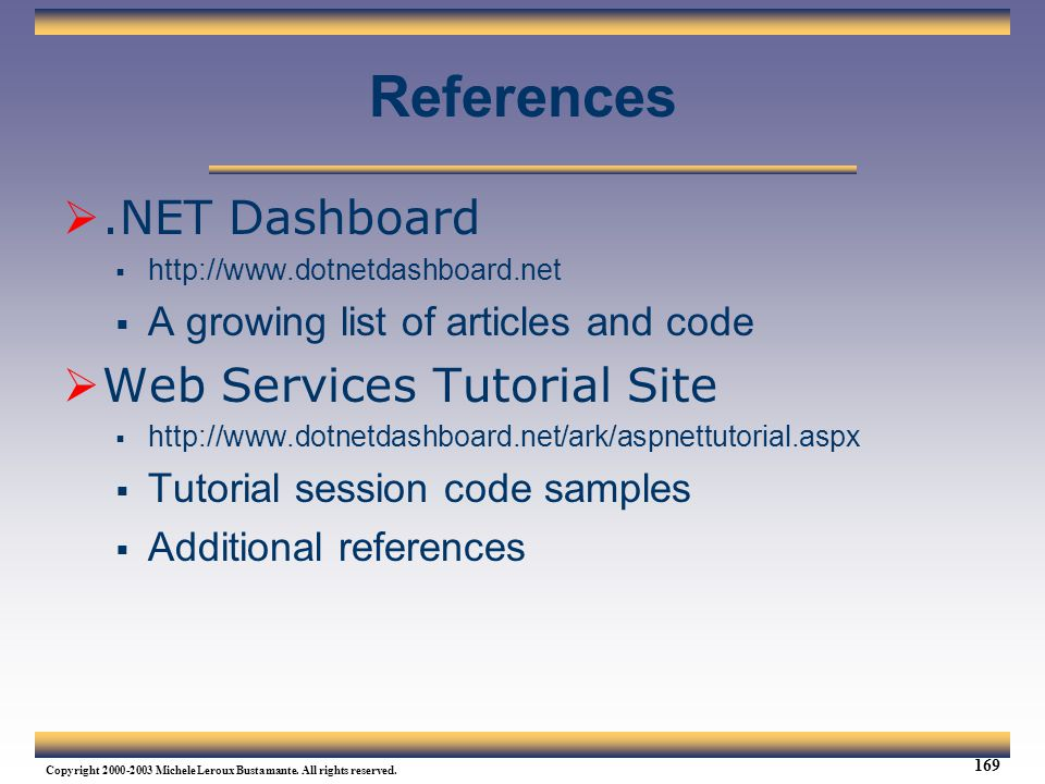 References .NET Dashboard Web Services Tutorial Site