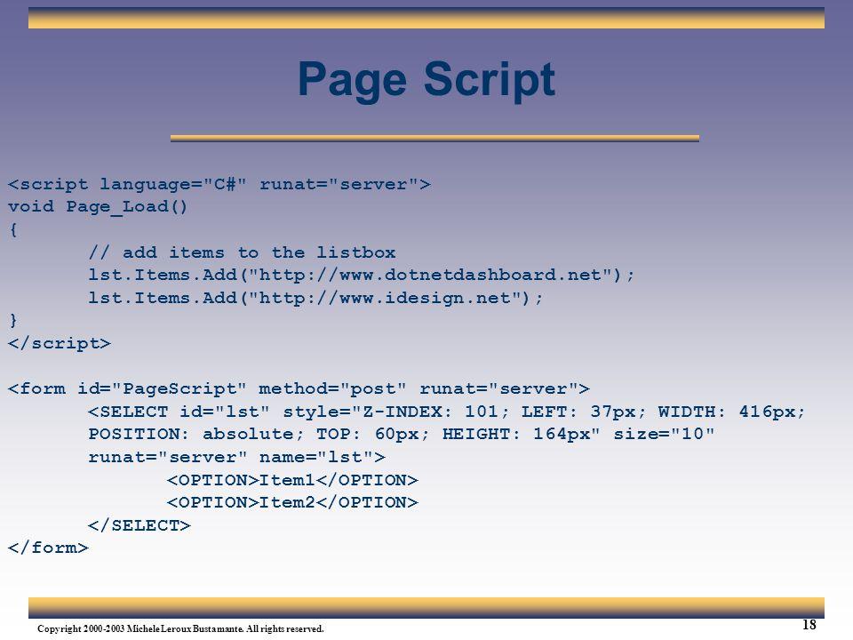 Page Script <script language= C# runat= server >