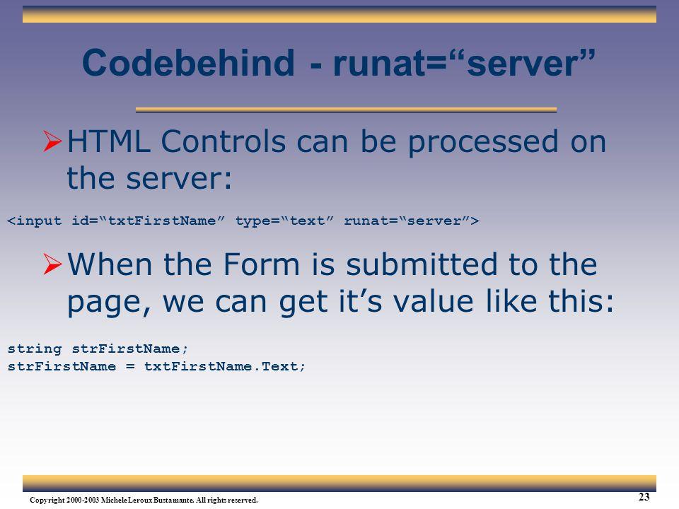 Codebehind - runat= server