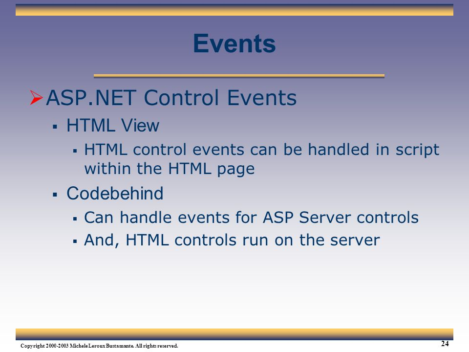 Events ASP.NET Control Events HTML View Codebehind