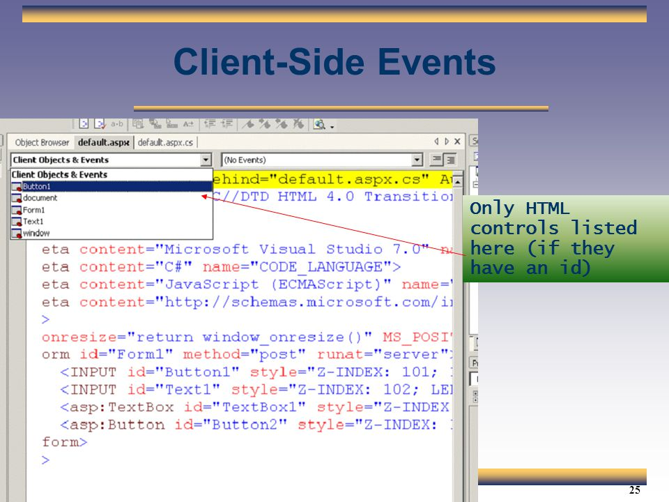 Client-Side Events Only HTML controls listed here (if they have an id)