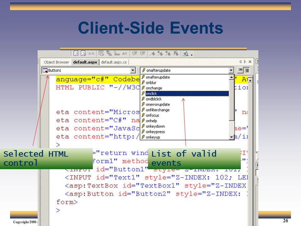 Client-Side Events Selected HTML control List of valid events