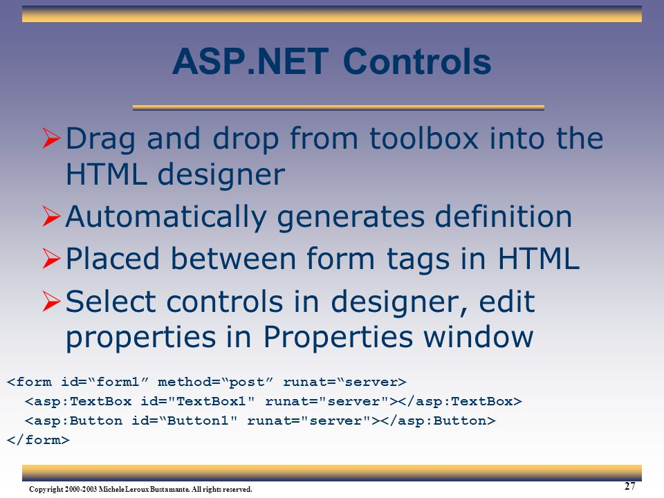 ASP.NET Controls Drag and drop from toolbox into the HTML designer