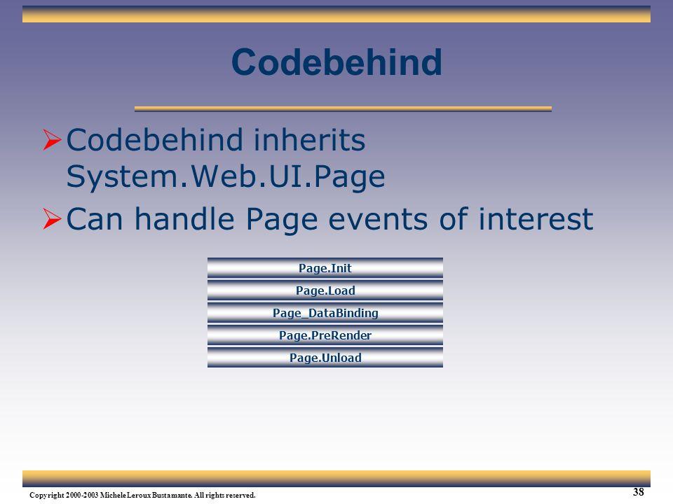 Codebehind Codebehind inherits System.Web.UI.Page