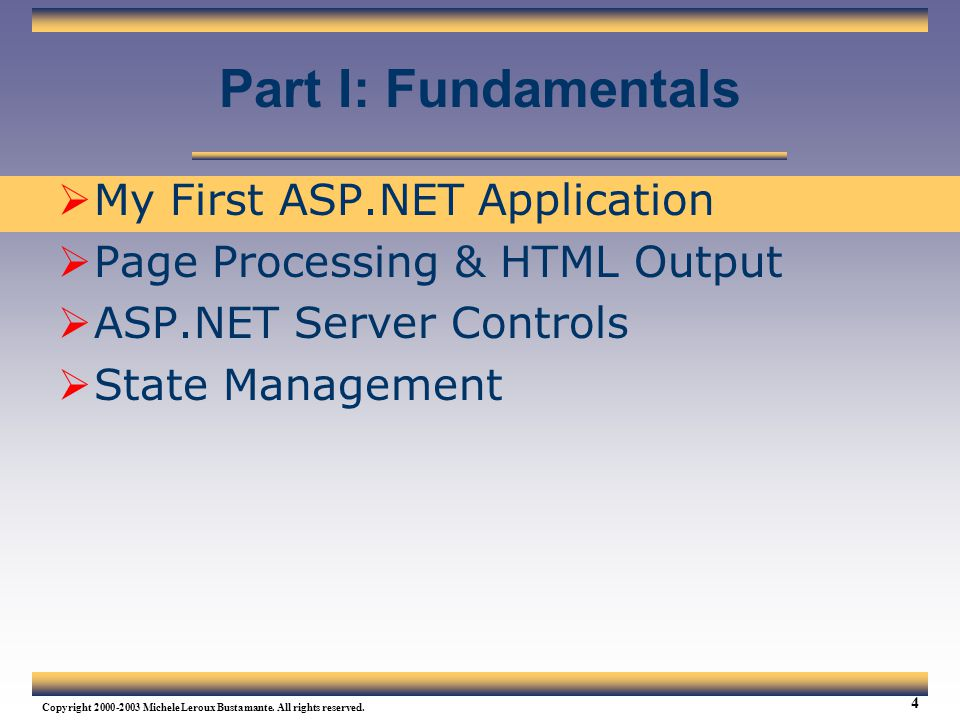 Part I: Fundamentals My First ASP.NET Application