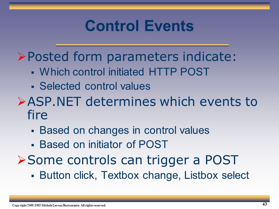 Control Events Posted form parameters indicate: