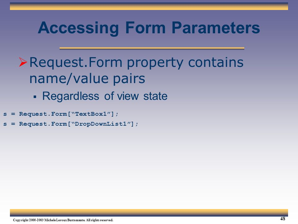 Accessing Form Parameters